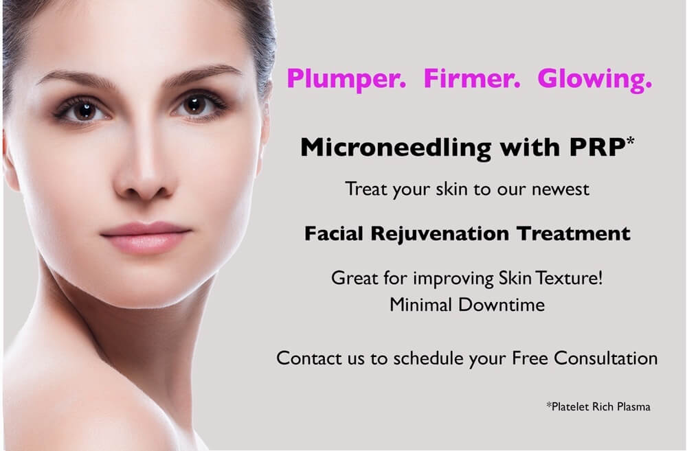Microneedling with PRP facial rejuvenation treatment. Improve skin texture, minimal downtime